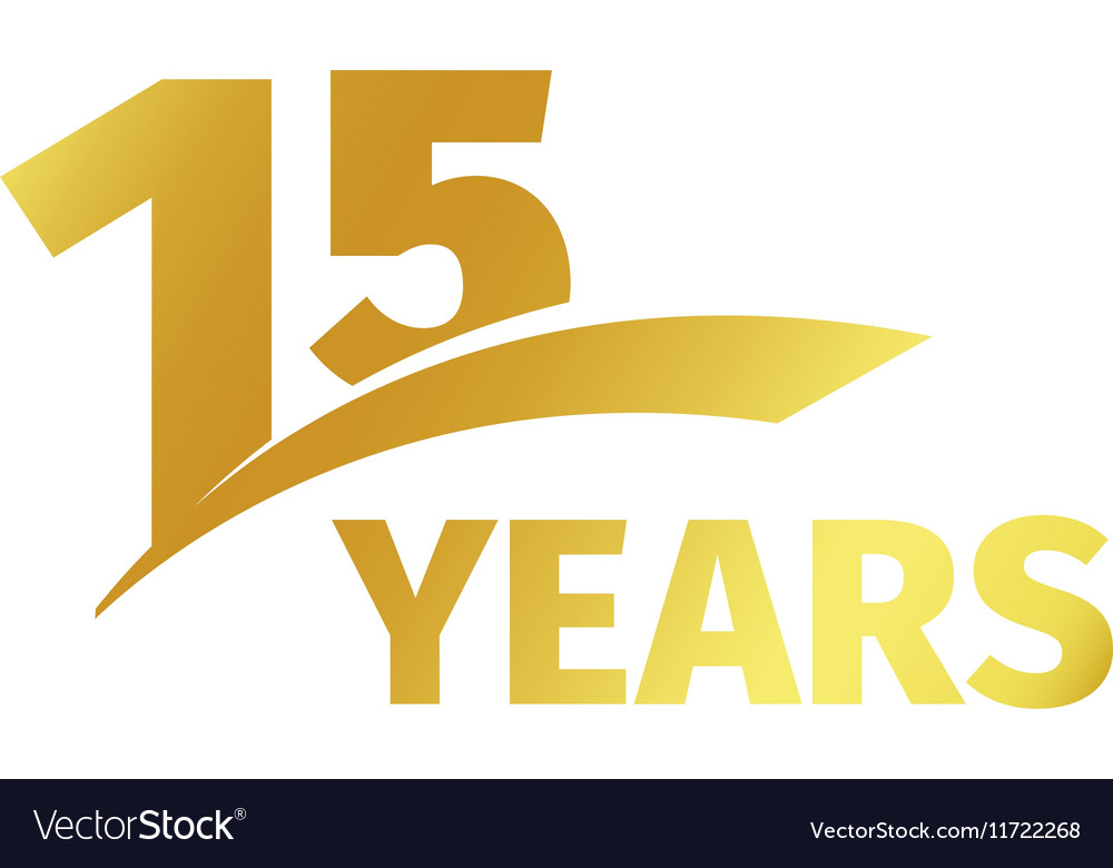 Isolated abstract golden 15th anniversary logo on