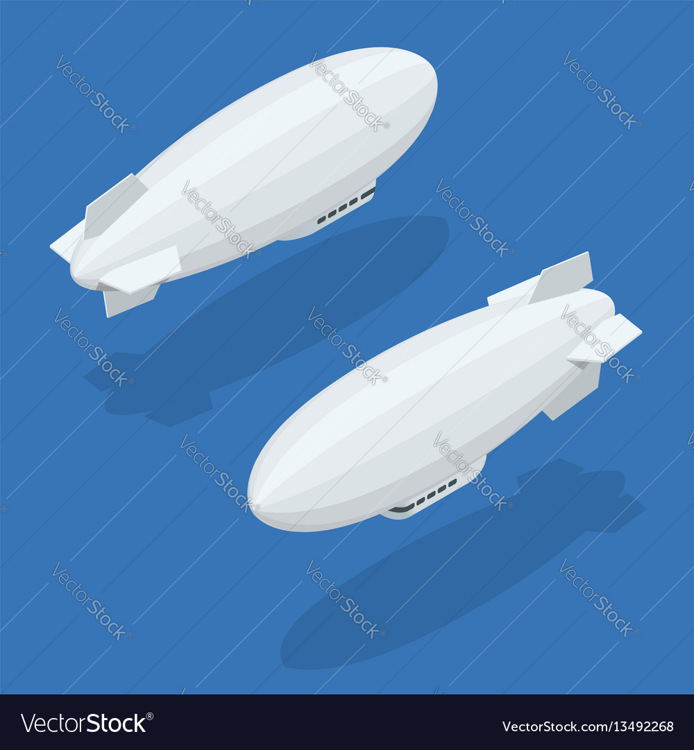 Isometric dirigible in flight icons collection on