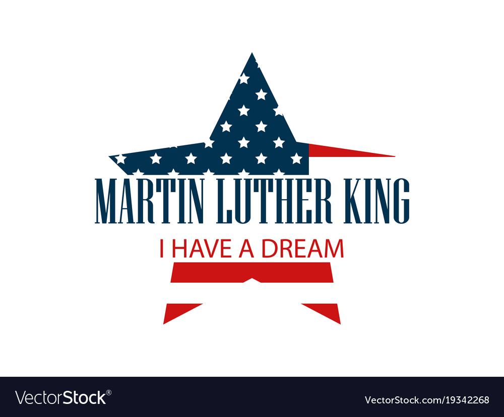 Martin luther king day star with flag usa
