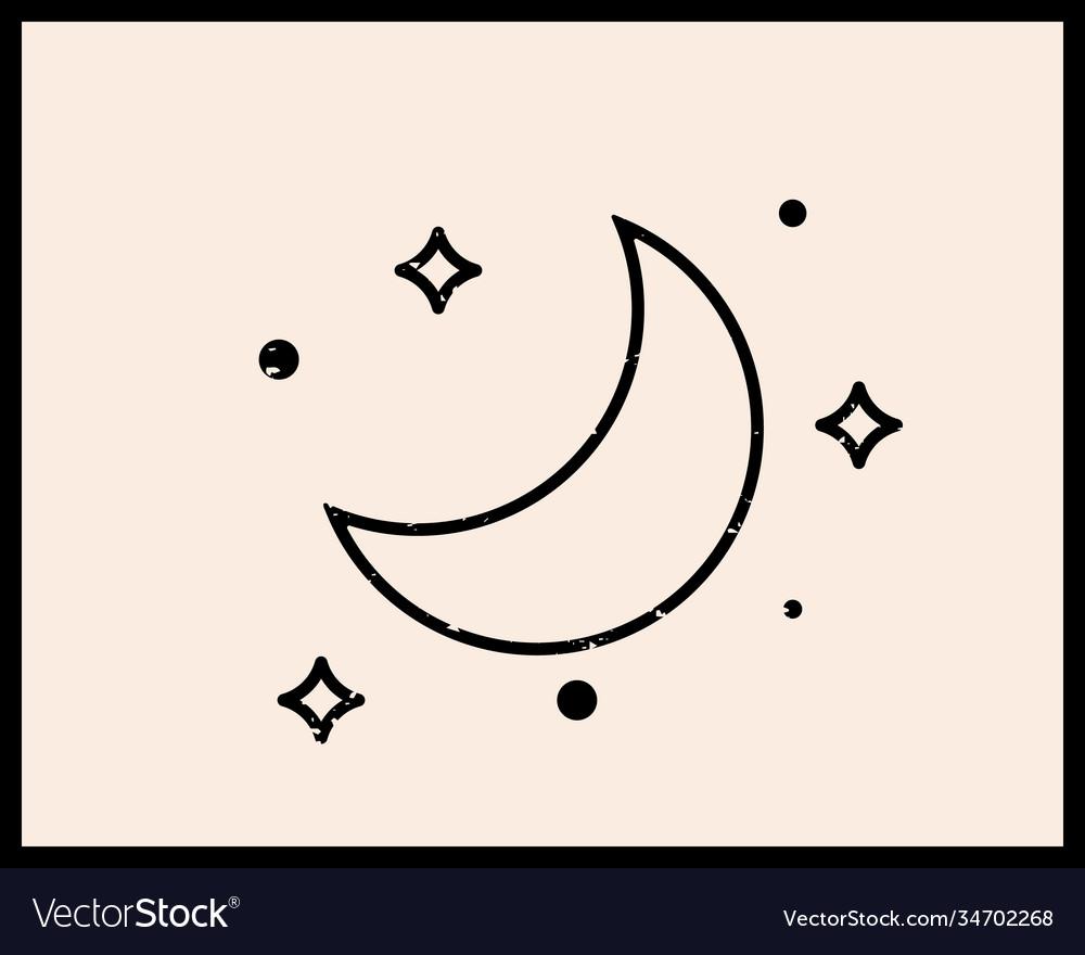 Moon linear logo icon for cosmetics beauty tattoo