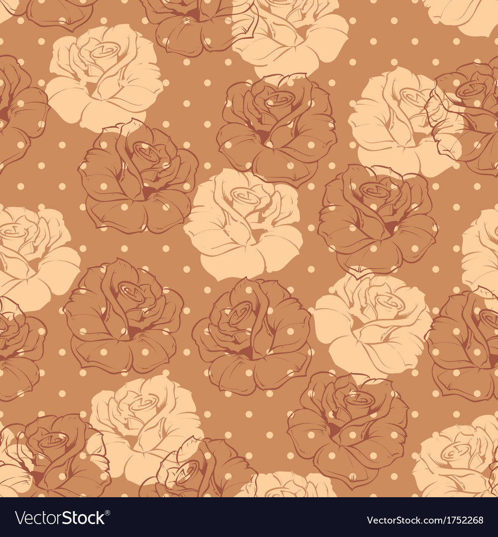 Seamless brown dots and roses floral pattern