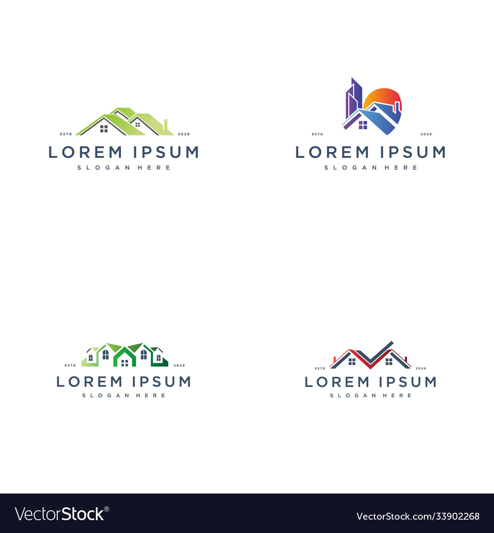 Set colorful house building logo icon design