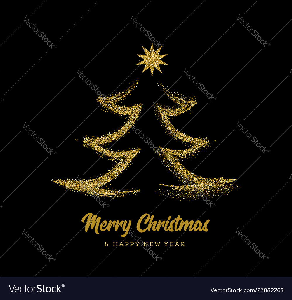 Silhouette of a christmas tree in the form of gold