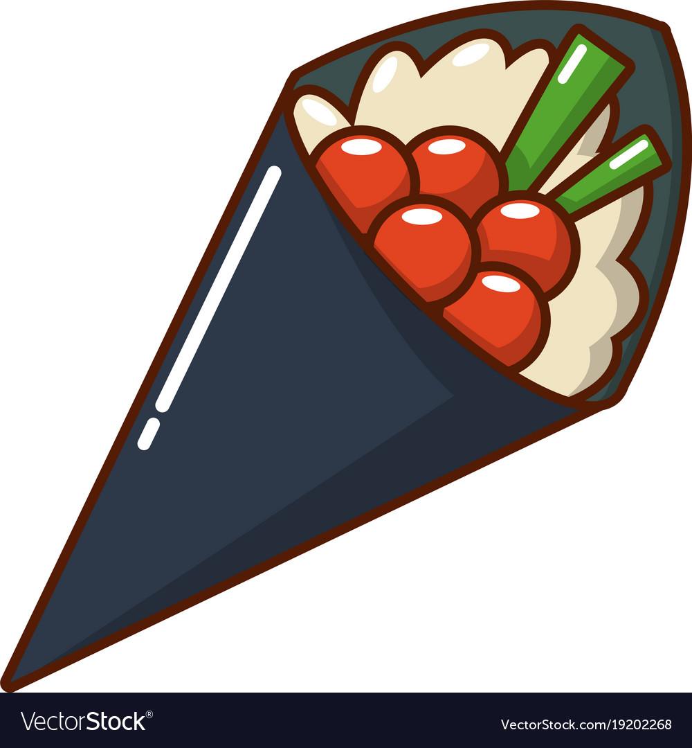Sushi food icon cartoon style vector image