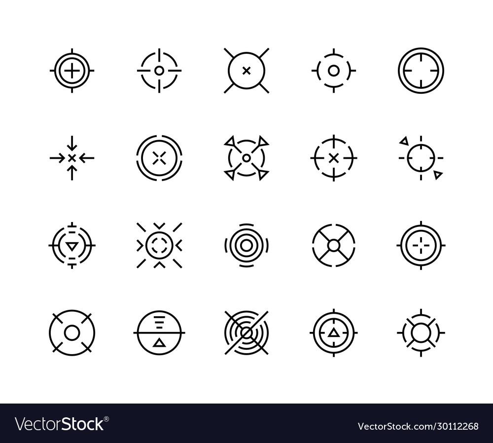 Target aim icons shooter game bullseye mark