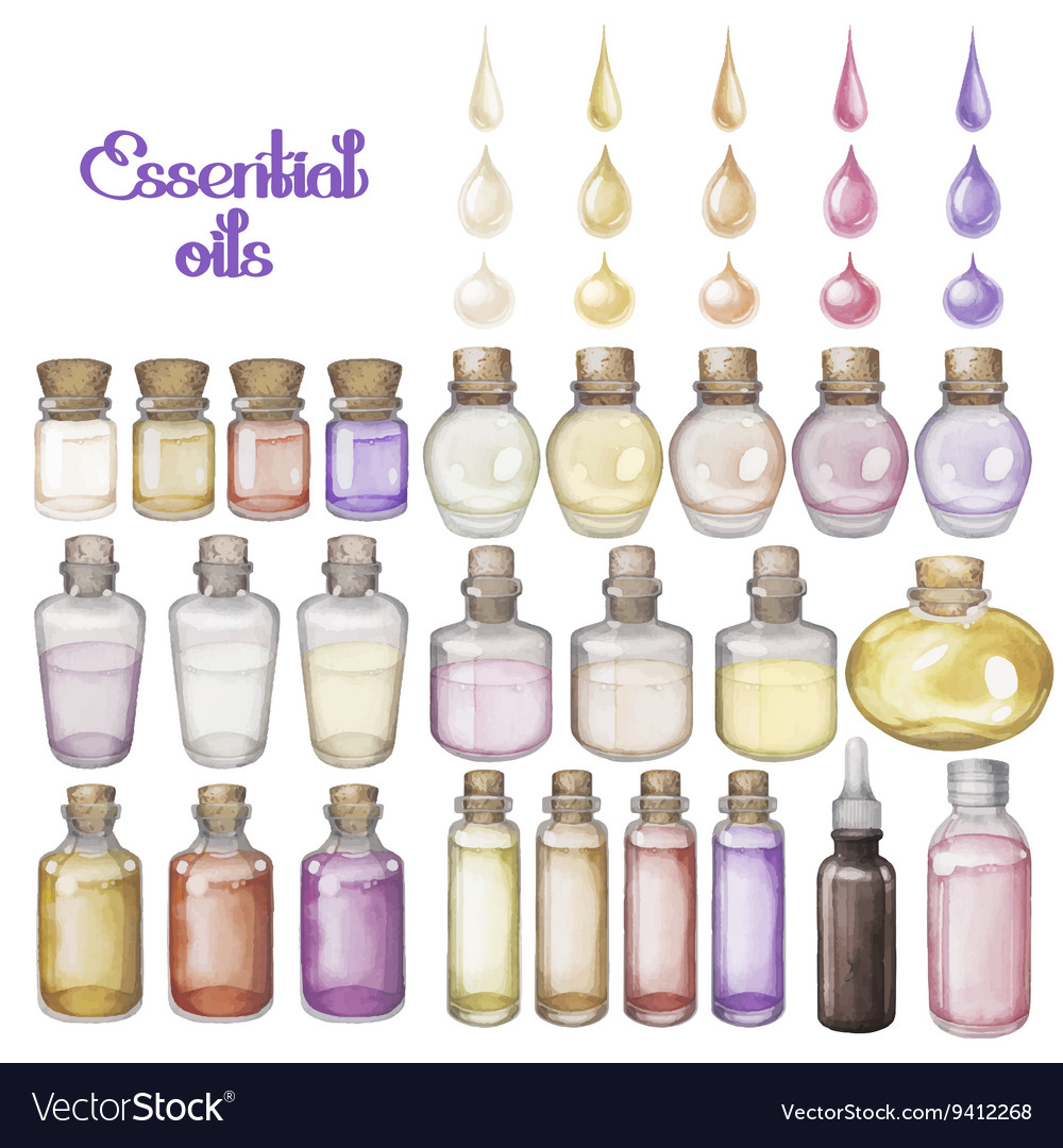 Watercolor essential oils
