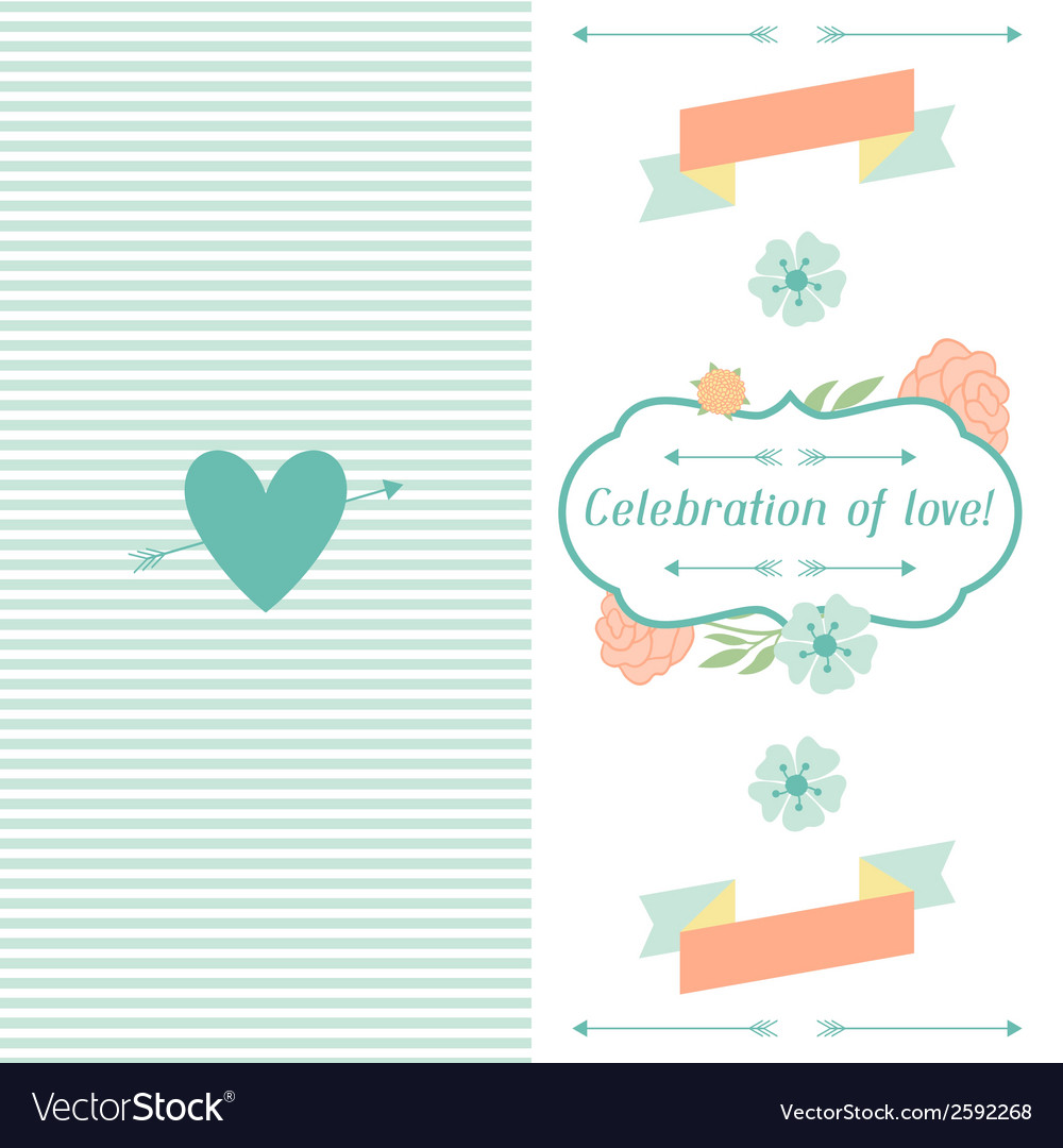 Wedding invitation card with pretty stylized vector image