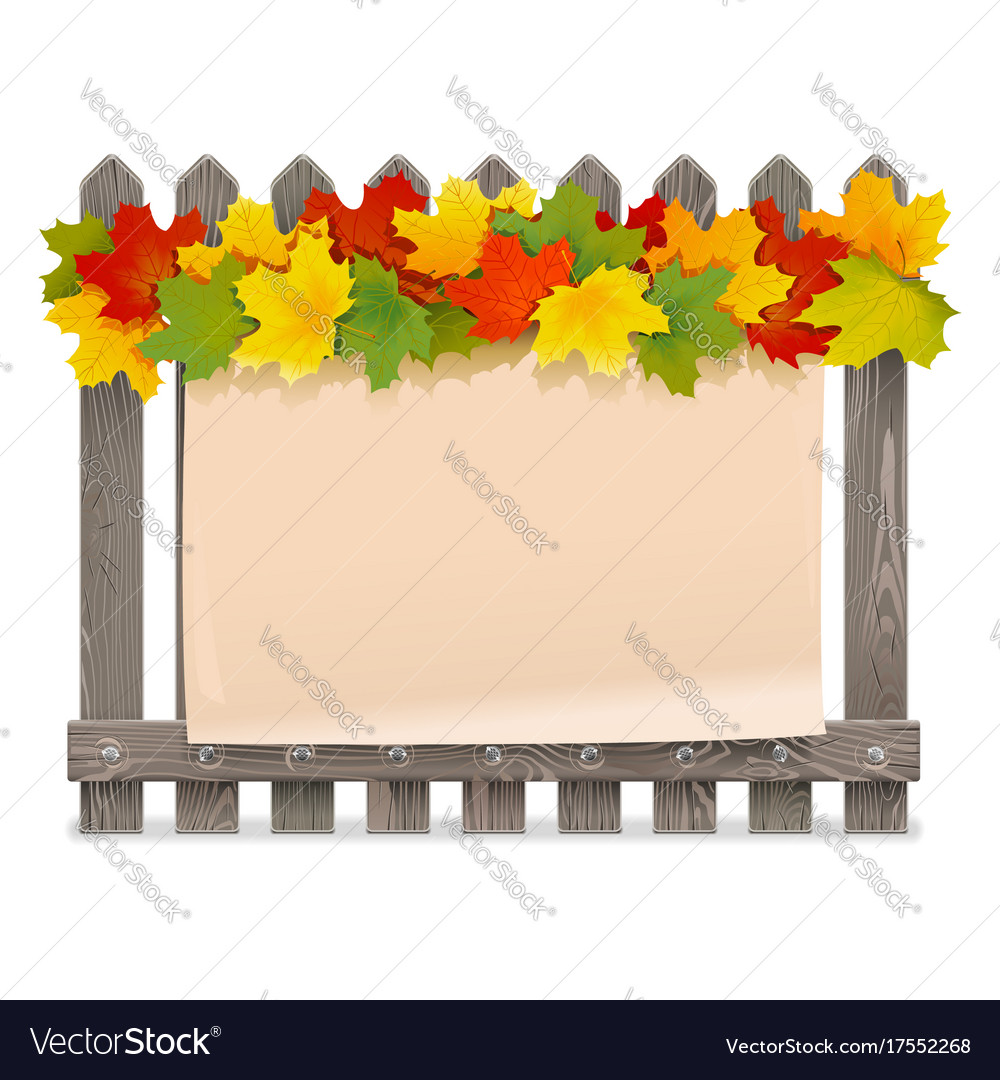 Wooden fence with maple leaves