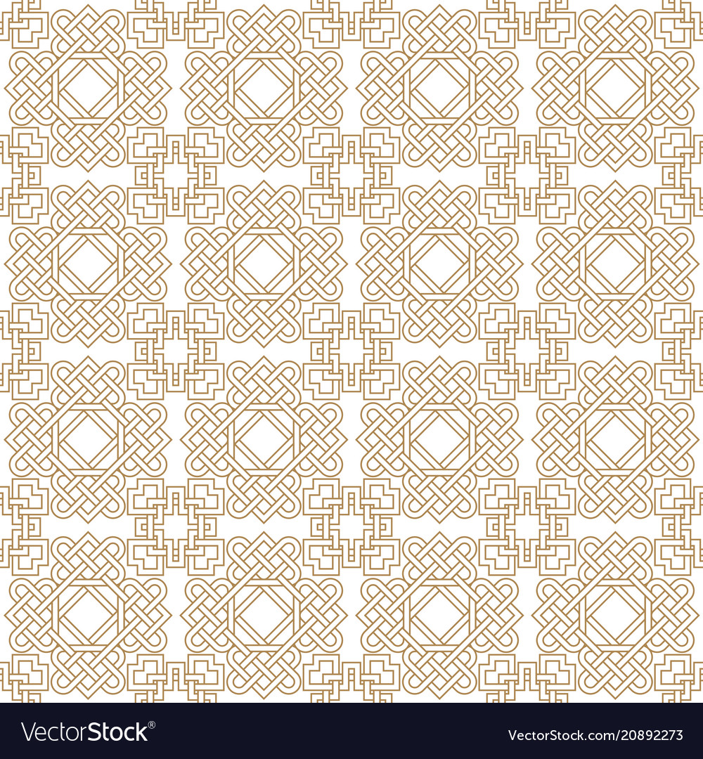 Abstract asian seamless pattern with celtic knots vector image