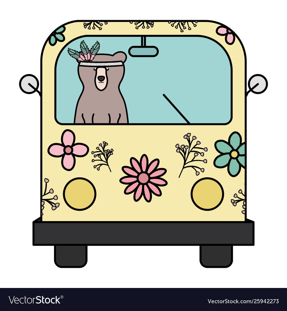 Bear grizzly with feathers hat in hippie van