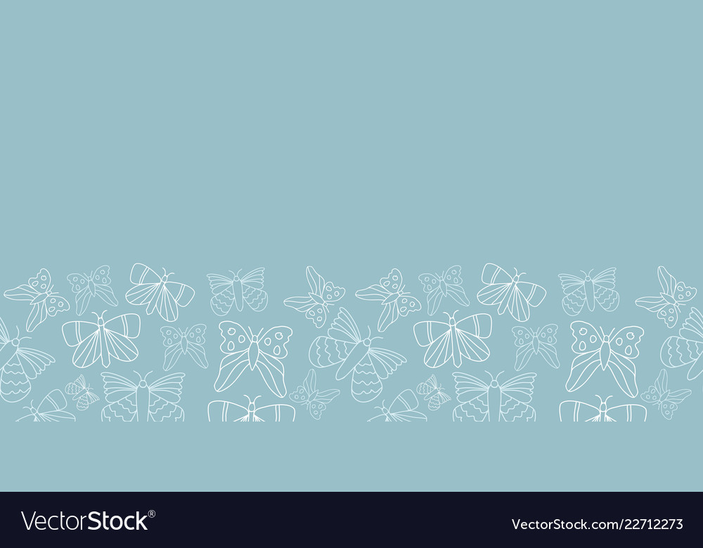 Blue and white butterflies border pattern design