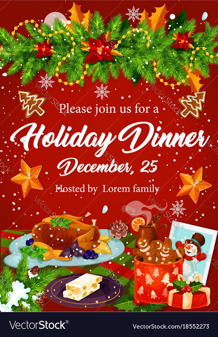 Christmas Dinner Party.Christmas Dinner Invitation For Xmas Party Design