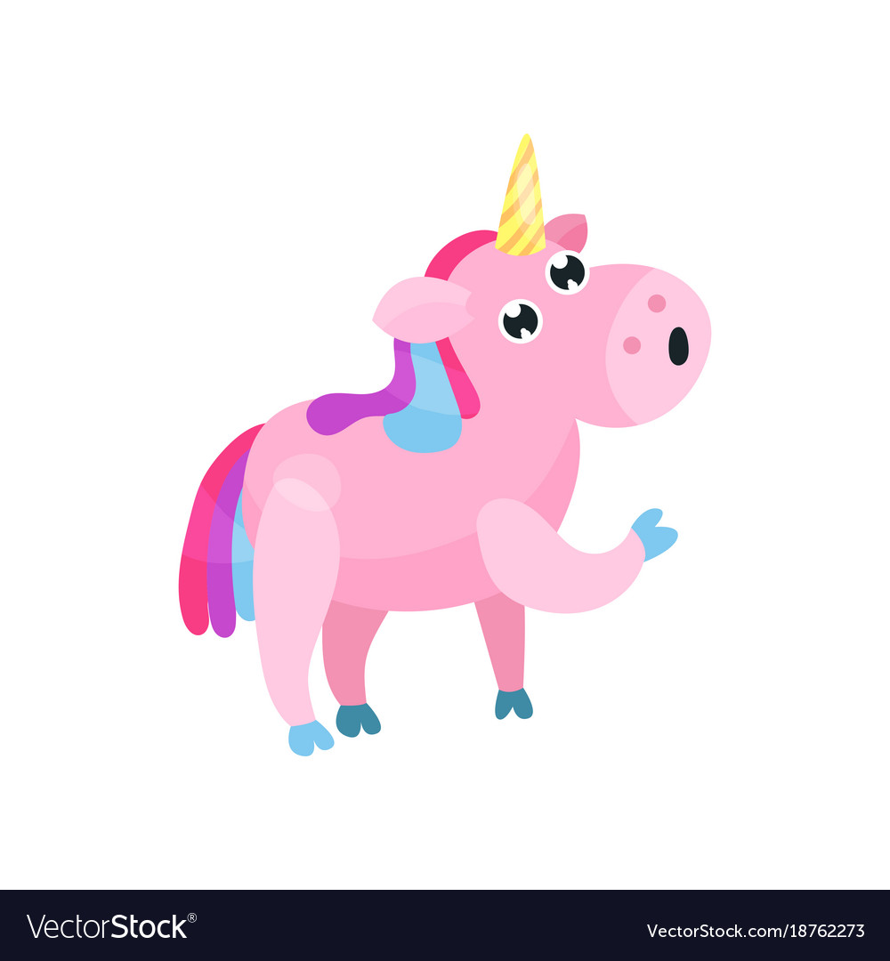 Cute cartoon pink unicorn with multicolored mane