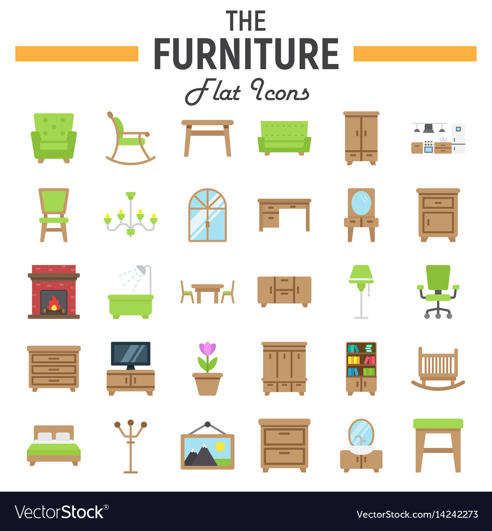 Furniture flat icon set interior sign collection vector image