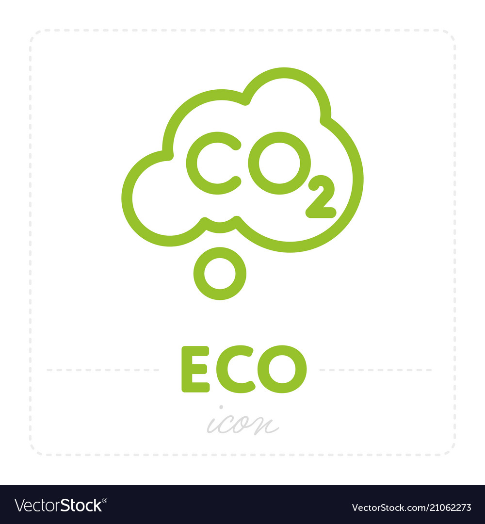 Green icon with carbon dioxide element