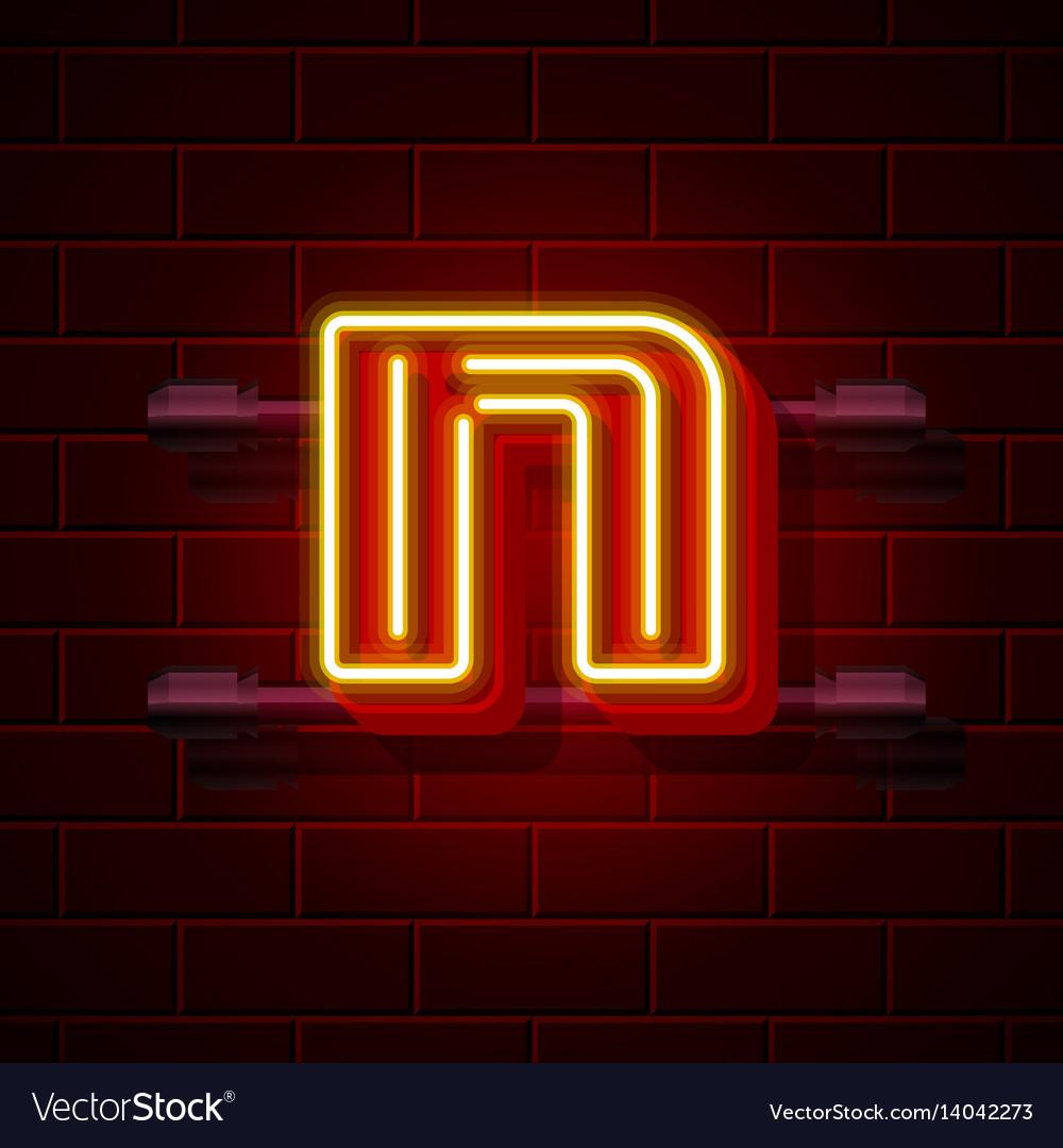 Neon city font letter n signboard