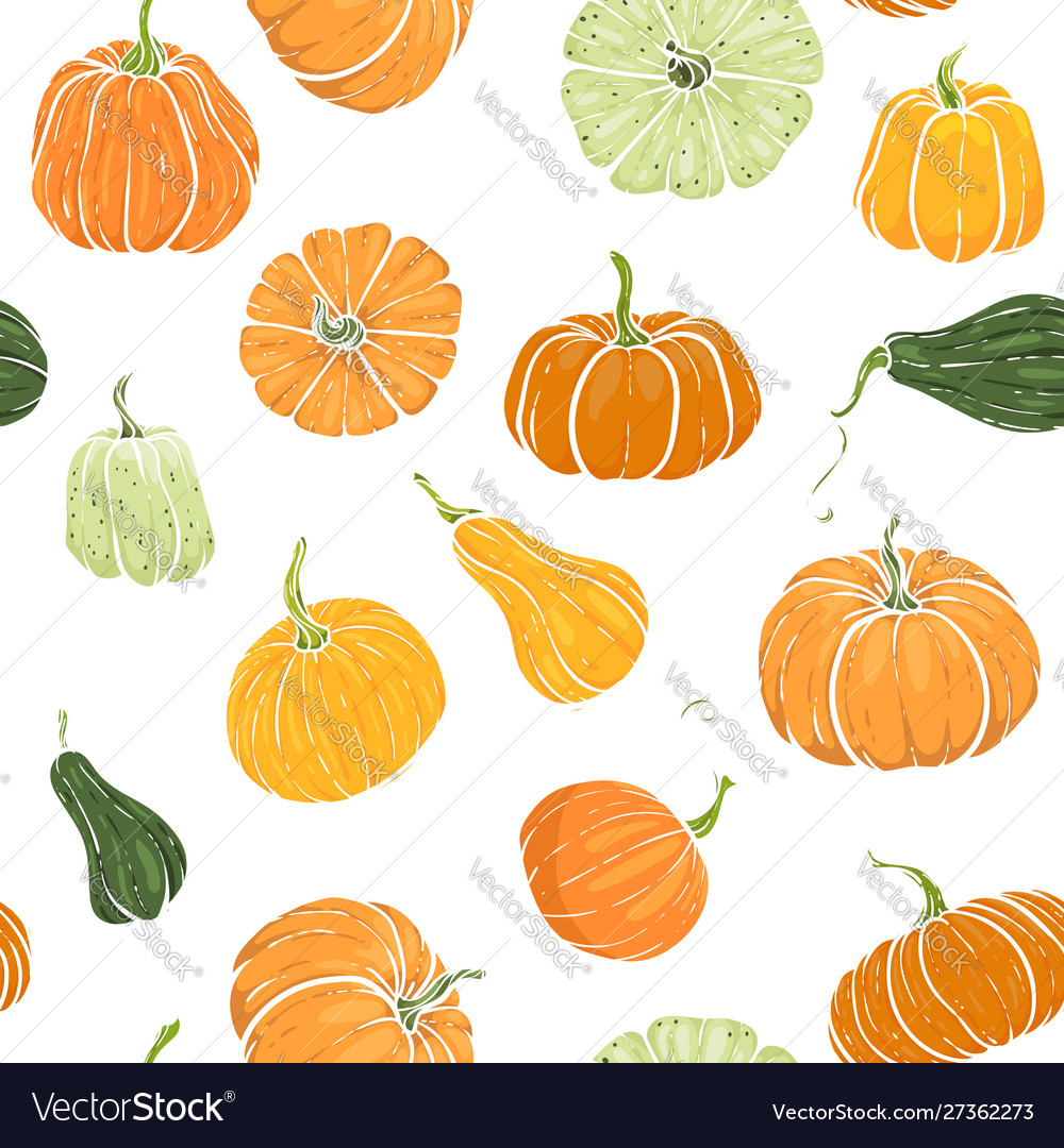 Seamless pattern with hand drawn pumpkin in
