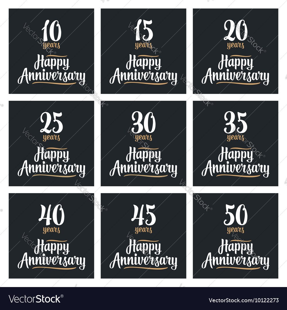 Set sign for happy anniversary