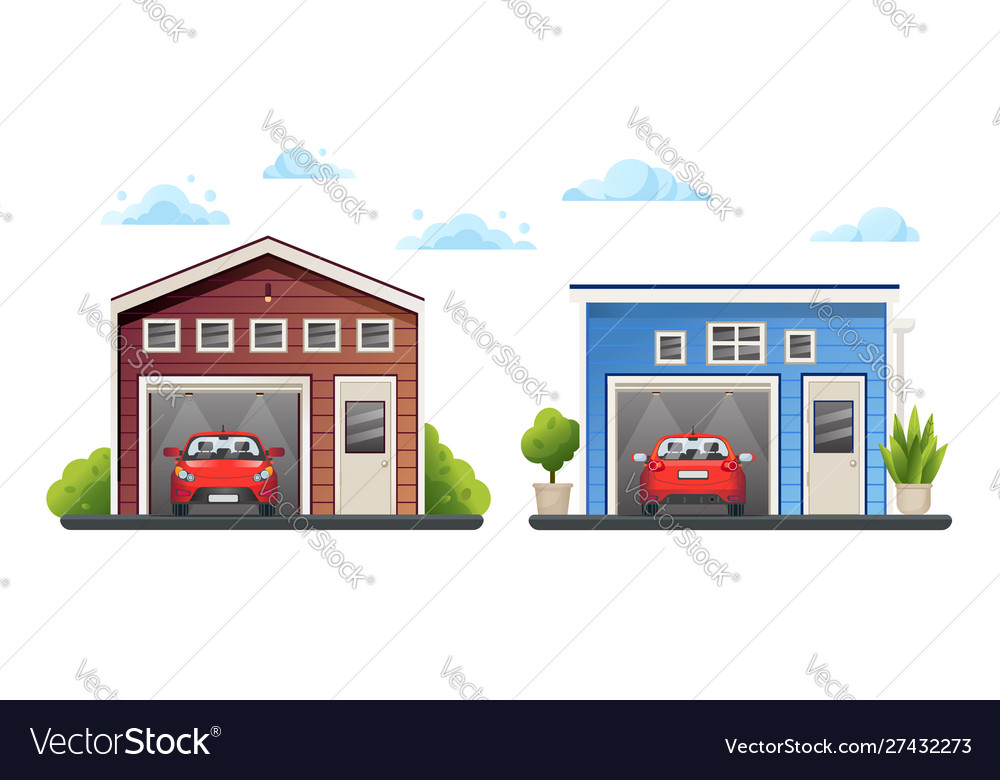 Two open different garages with red cars inside