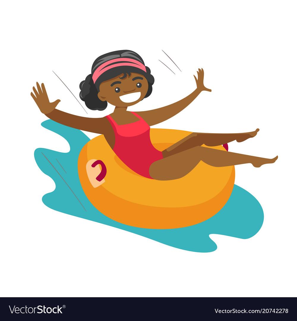 African-american woman having fun in waterpark