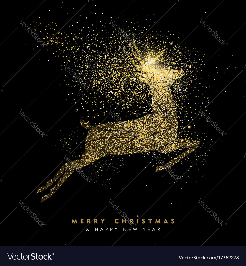 Christmas and new year holiday gold glitter deer