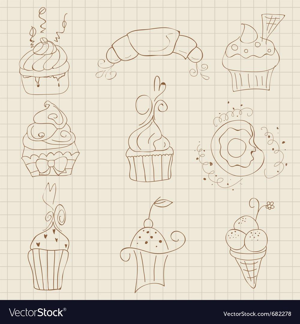Cupcakes sketch set