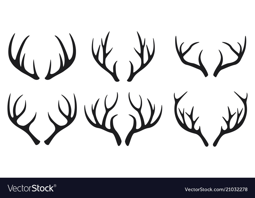 Deer antlers black icons set