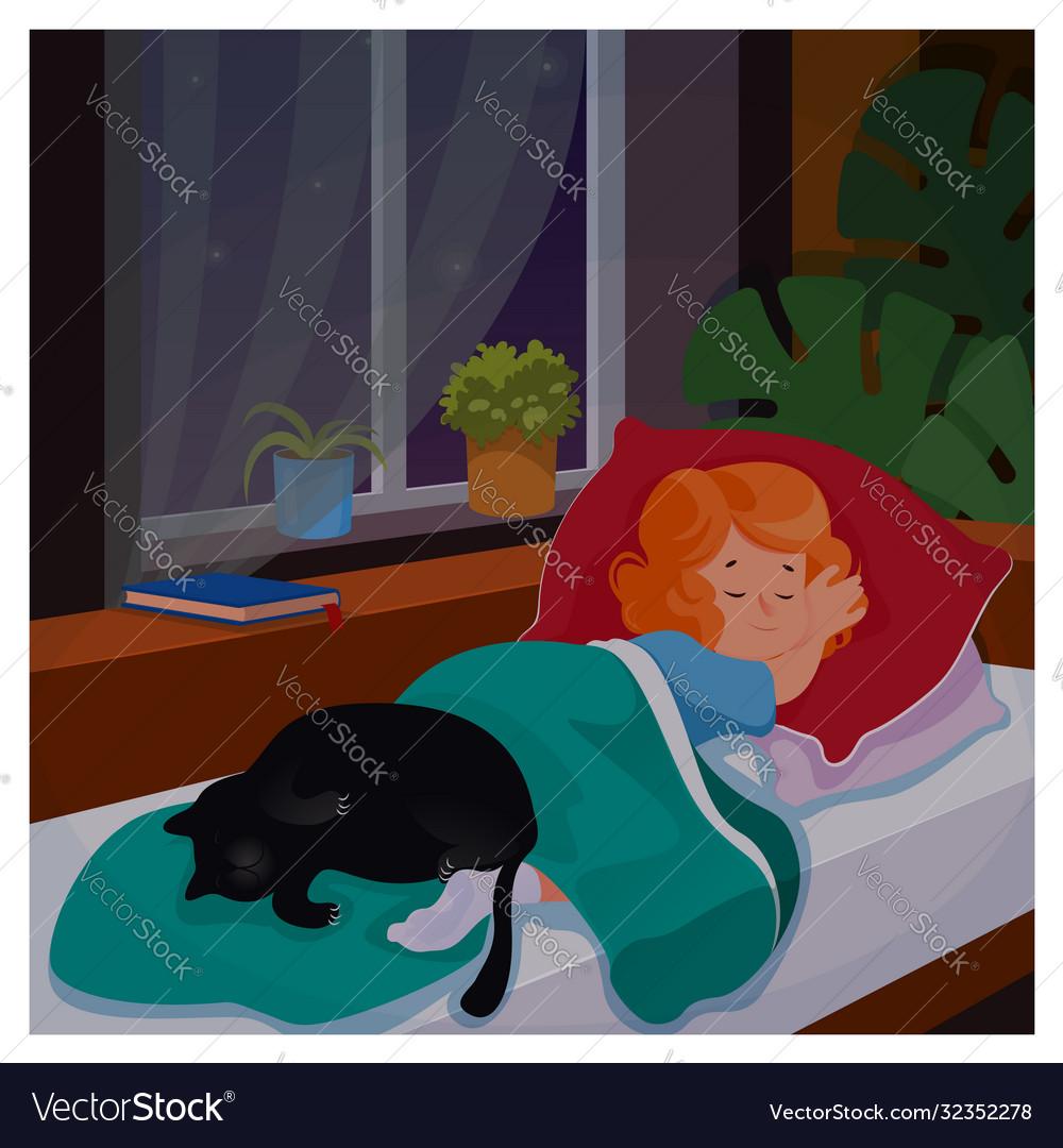 Kid girl sleeping in her bedromm wit cat at night