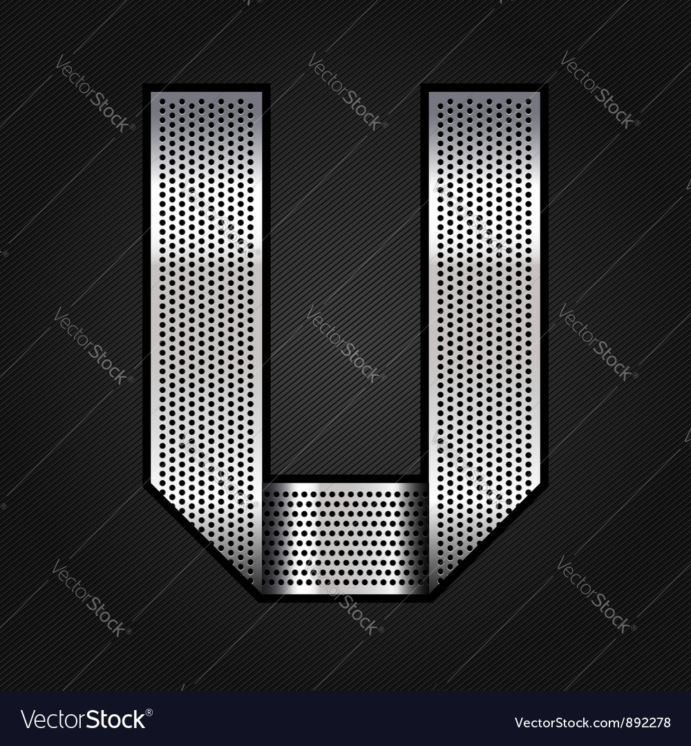 Letter metal chrome ribbon - U vector image