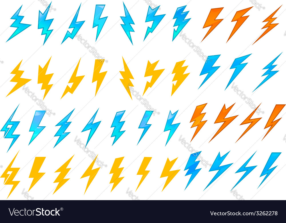 Lightning bolts or electrical icons vector image