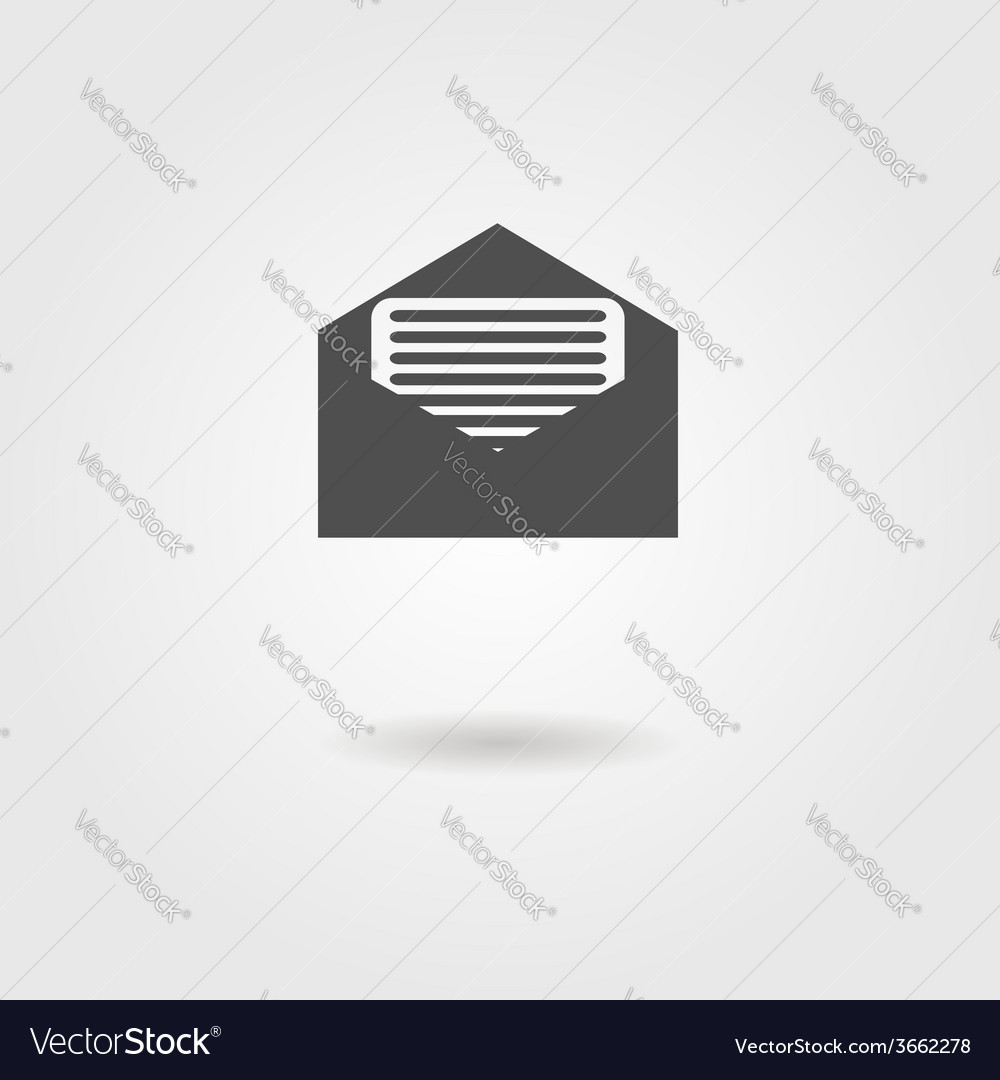 Open envelope black icon with shadow
