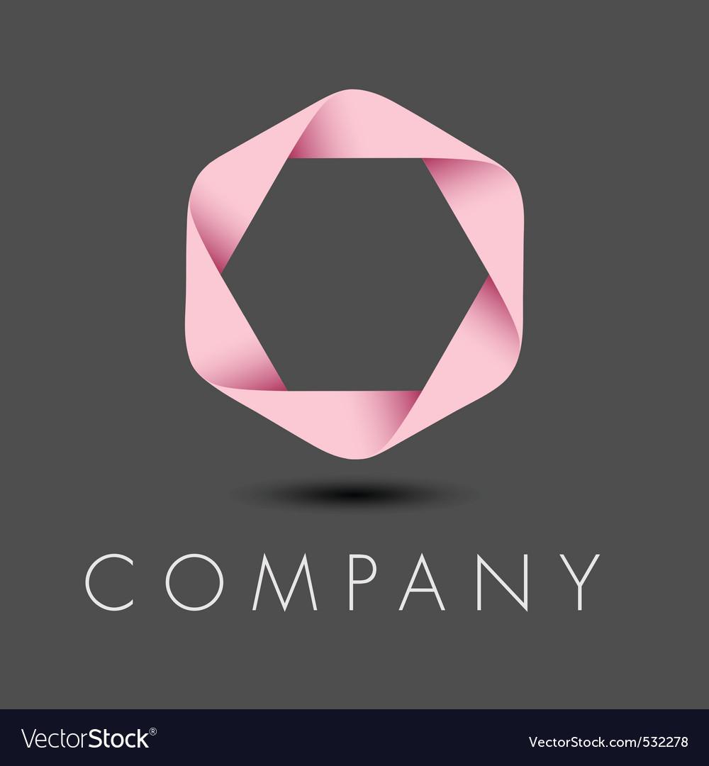Pink hexagon ribbon logo