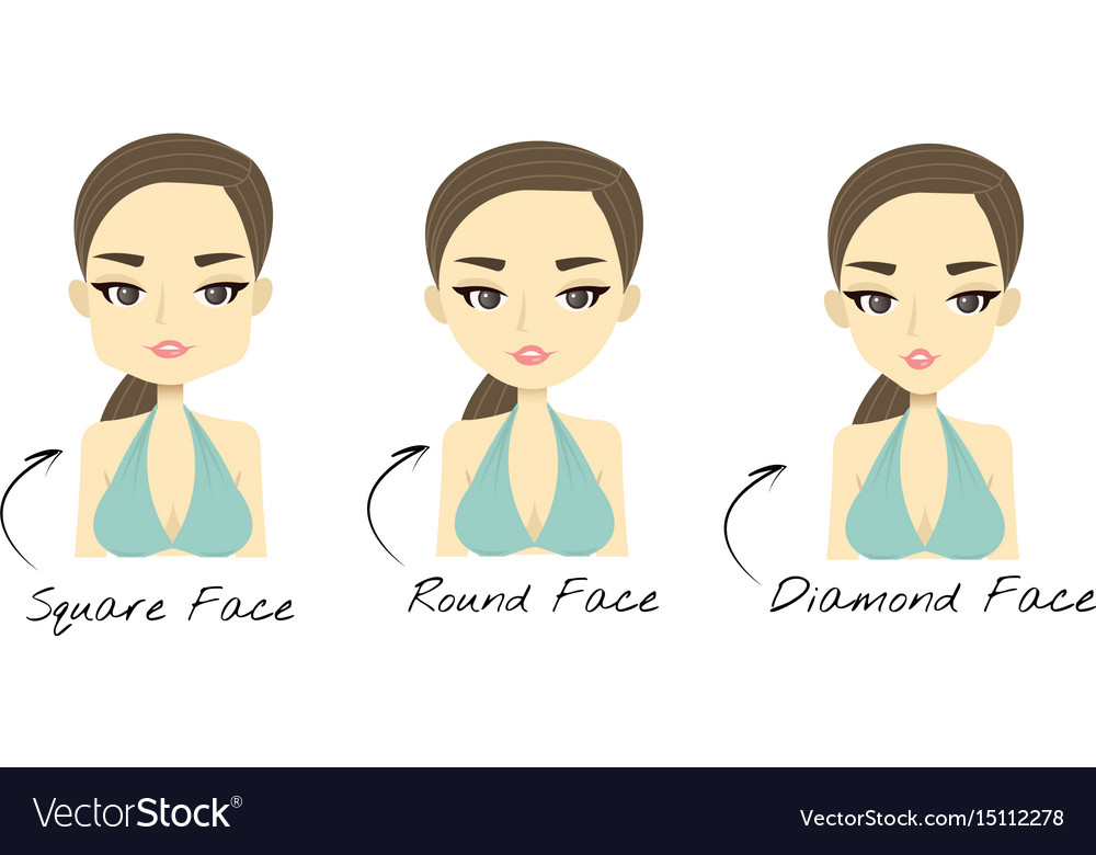 Incredible Set Of 3 Different Womans Face Shapes Square Vector Image Natural Hairstyles Runnerswayorg