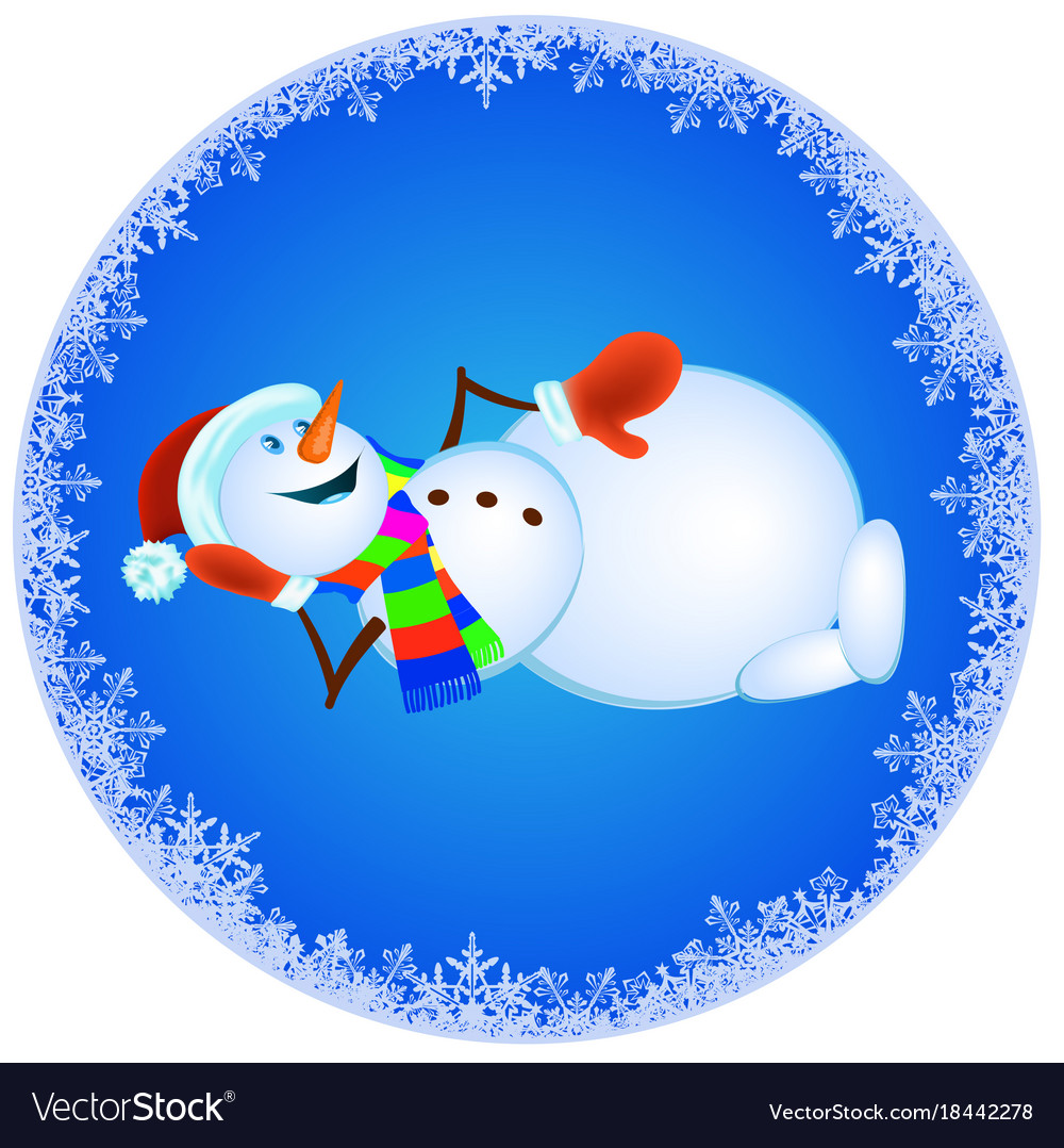 Snowman in red mittens and striped scarf