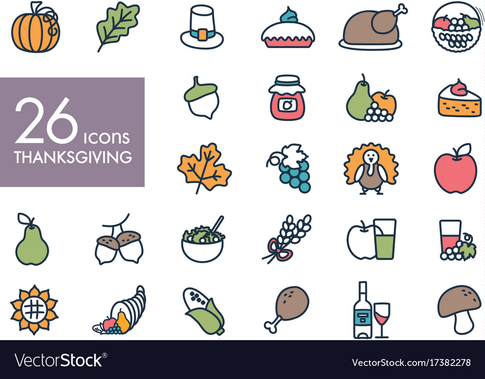 Thanksgiving day outline icons set harvest