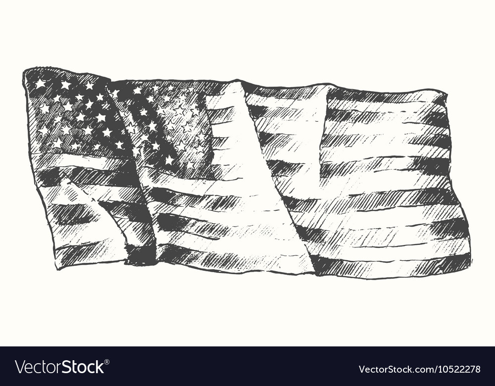 USA flag isolated drawn sketch