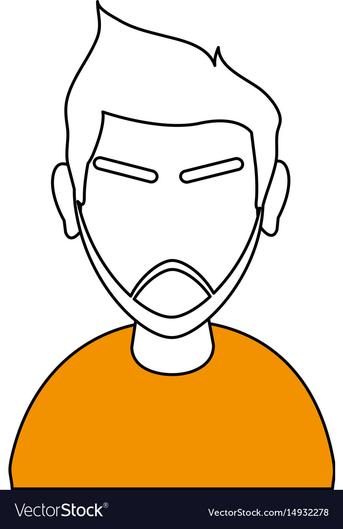 White and orange silhouette of cartoon half body