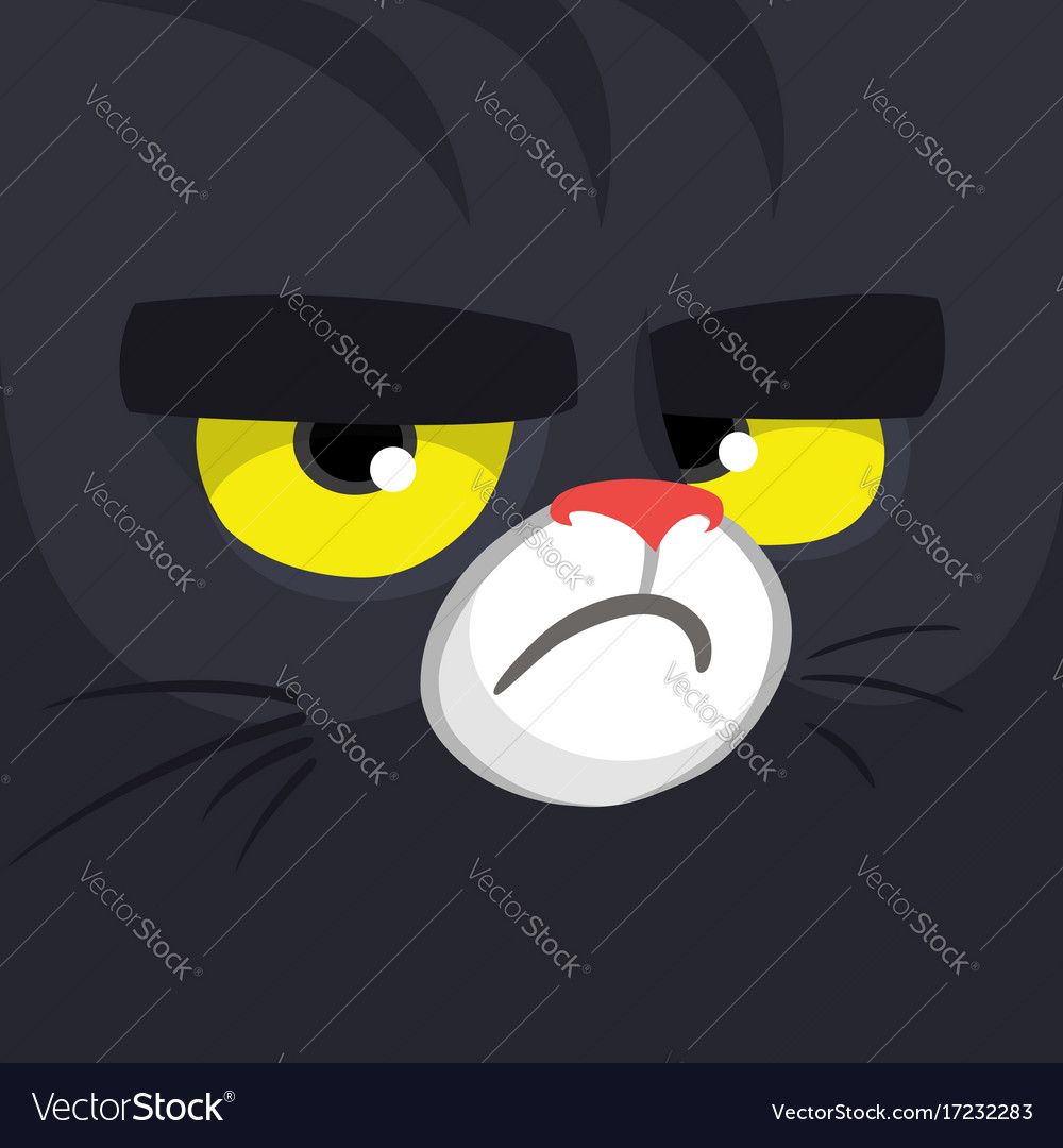 Cartoon Black Witch Cat Face Royalty Free Vector Image