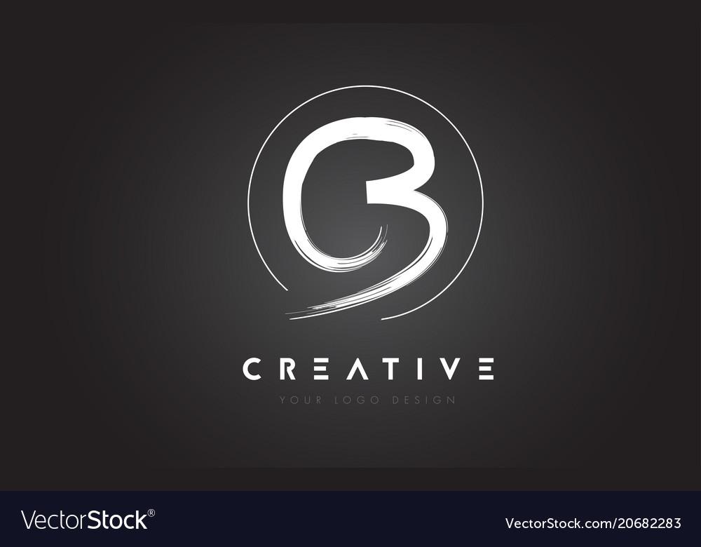 Cb brush letter logo design artistic handwritten