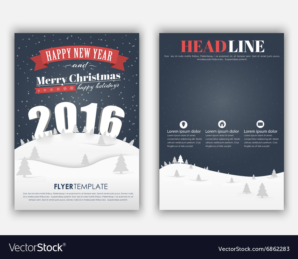Design Christmas and New Year flyer Royalty Free Vector