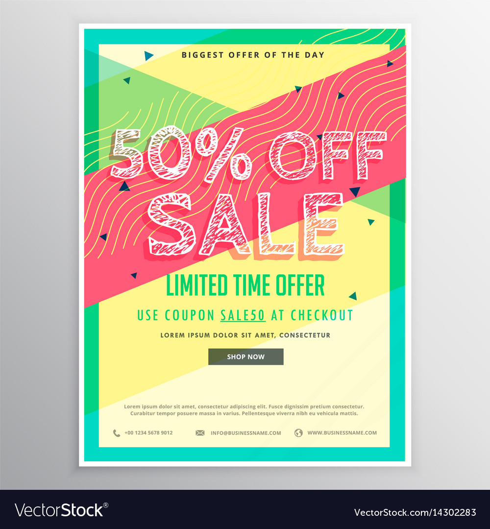 discount sale brochure template for marketing vector image