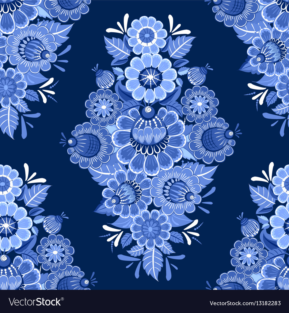 Ethnic monochrome seamless texture with blue