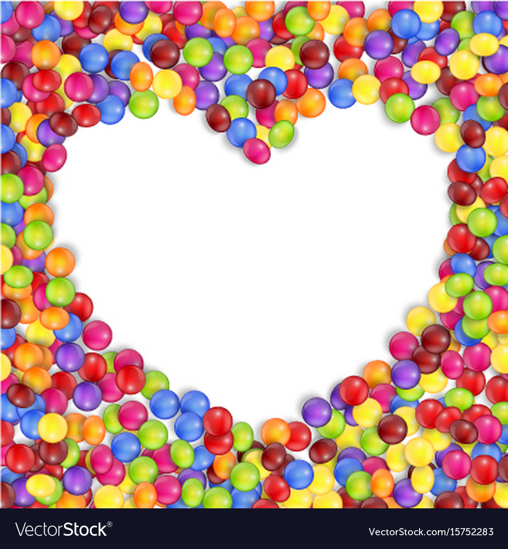 Frame of love colored candies Royalty Free Vector Image