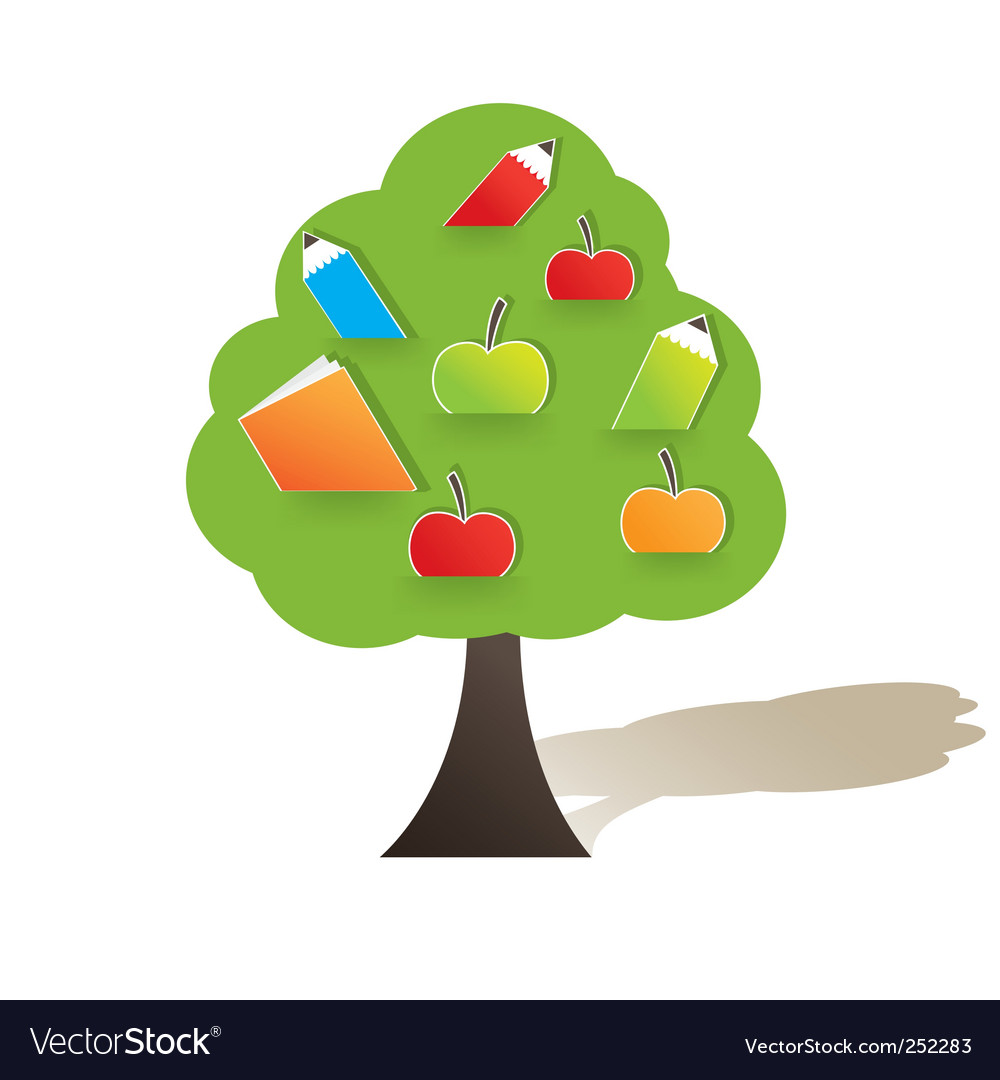 Green tree with apple illustration vector image