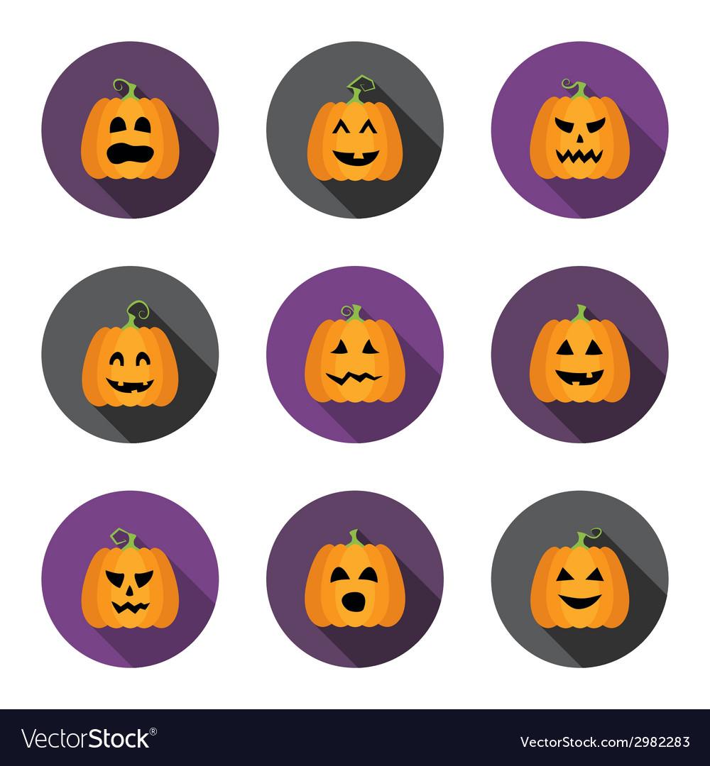 Halloween pumpkins flat circle icons set