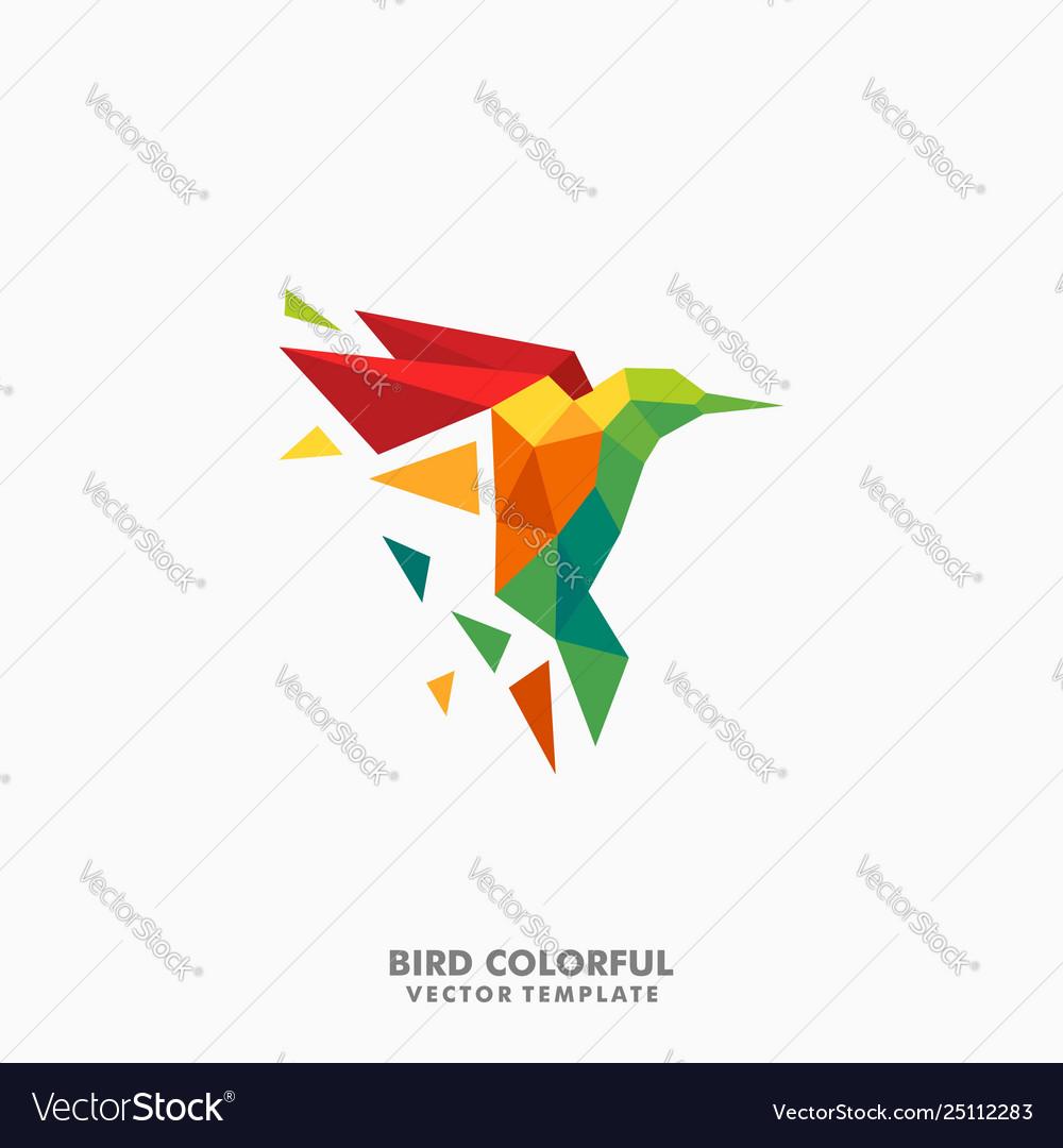 Hummingbird polygon color full concept