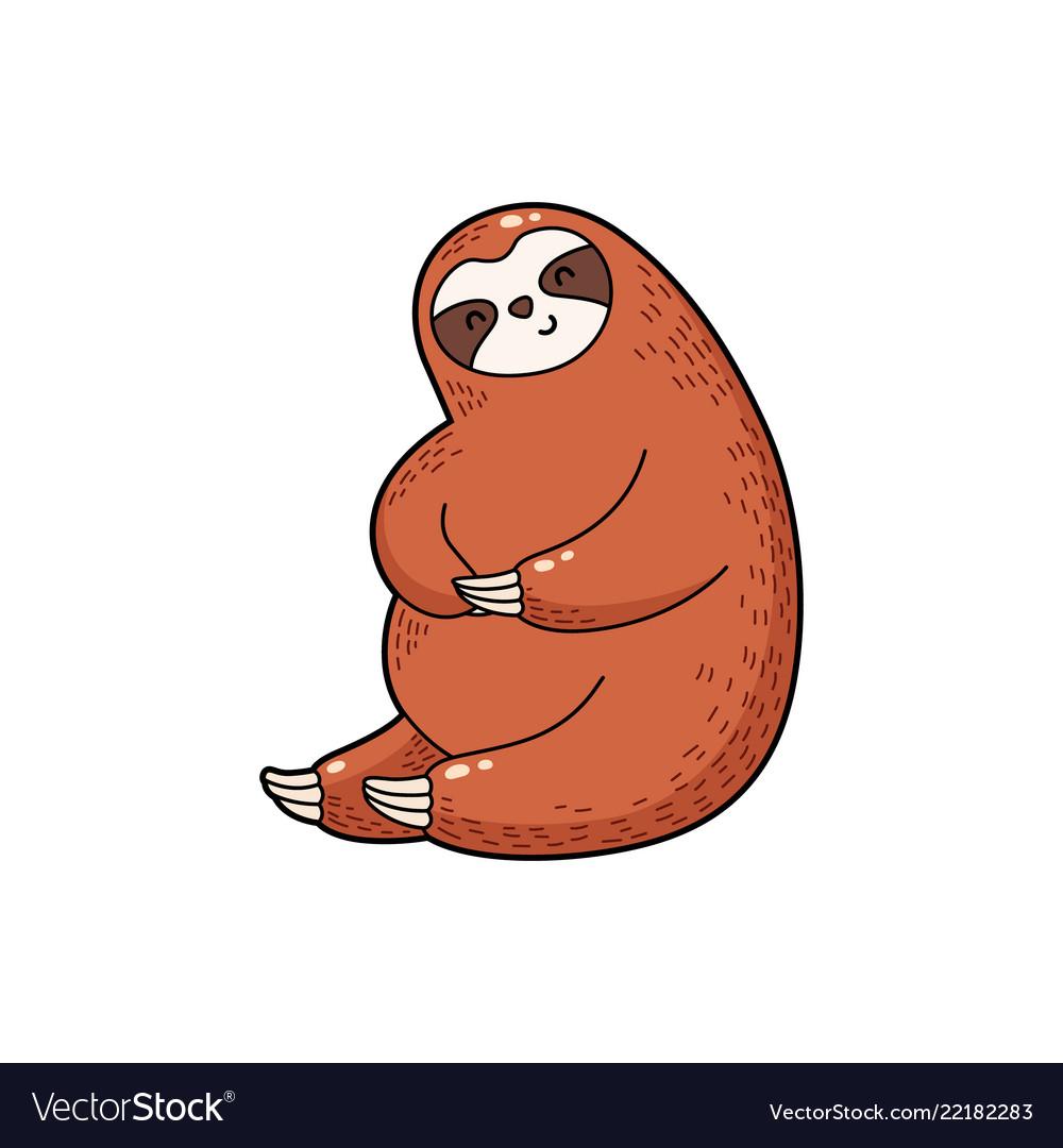 Lovely Cartoon Sloth Logo Royalty Free Vector Image