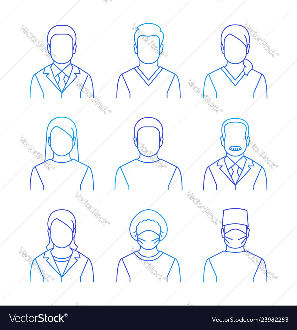 Medical doctors and patients thin line avatars
