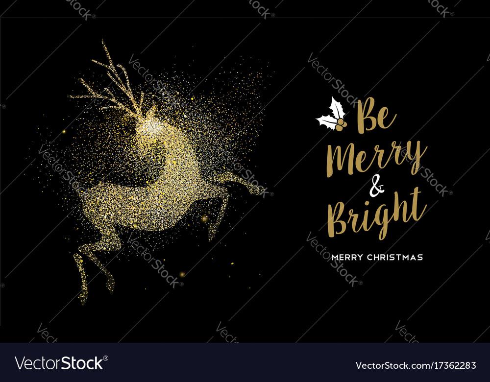 Merry christmas gold glitter deer holiday card