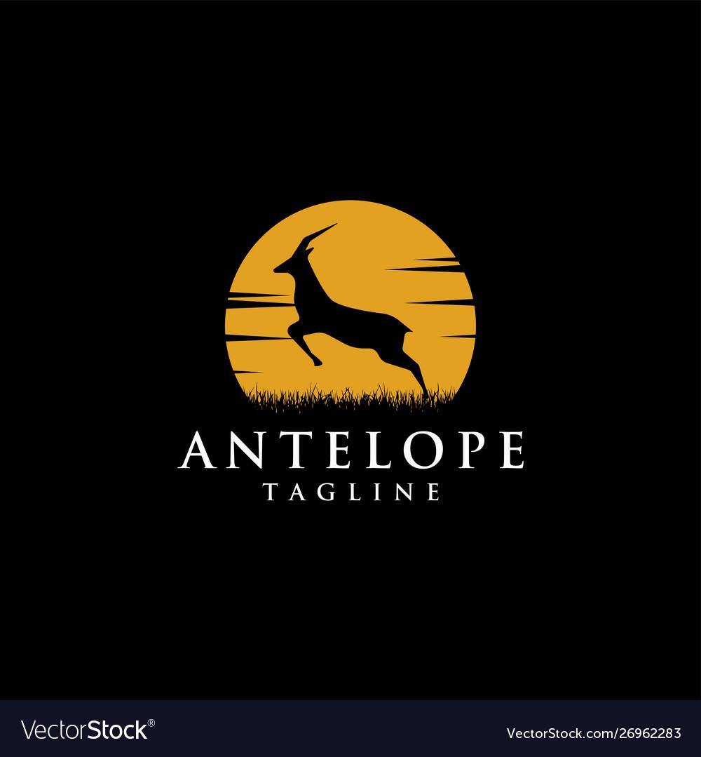 Nature logo jumping antelope at moon night